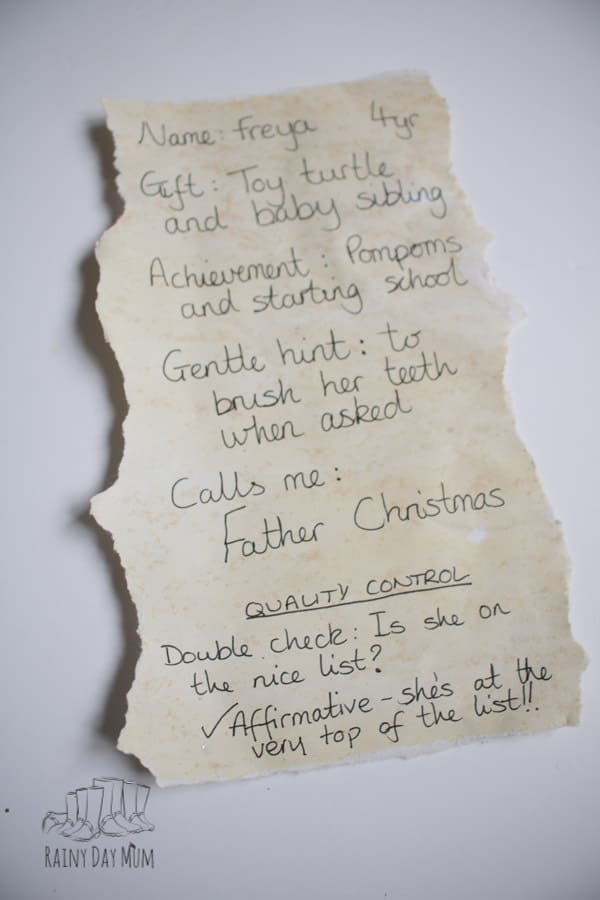 plan of what to write in your personalised letter from santa for your own child or