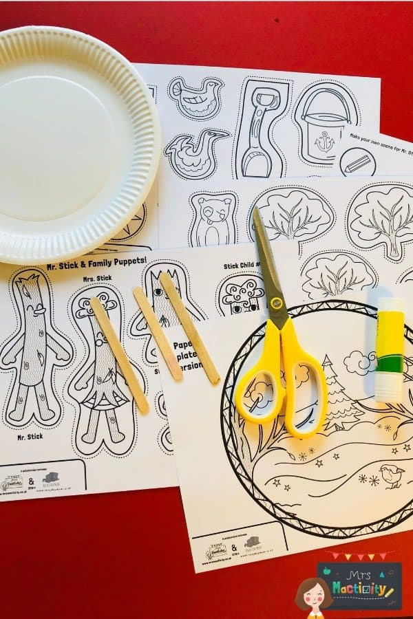Materials needed to make a Paper Plate Stick Man Puppet to retell the story