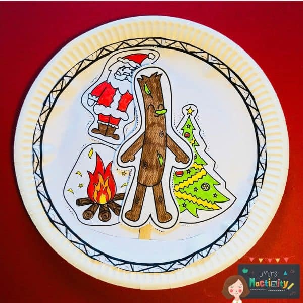 Christmas Stick Man Paper Plate Craft with free printable to use