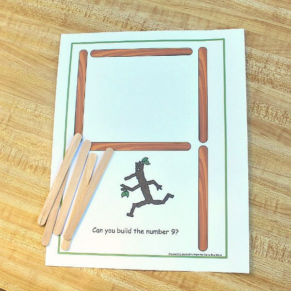 Build your numbers mats and stick activity shown. Inspired by Stick Man by Julia Donaldson