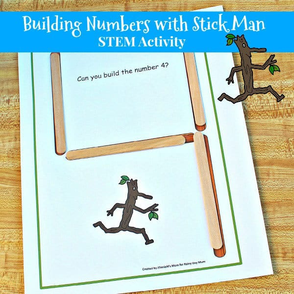Stick Man Inspired STEM Number Building Activity for Kids