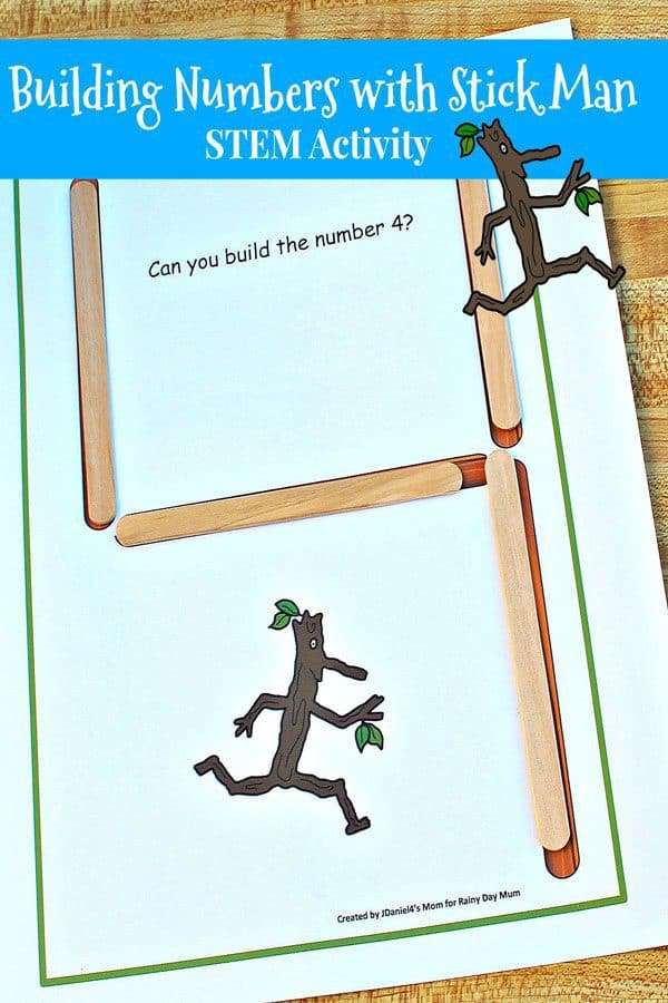 STEM Activity for Preschoolers to build number inspired by the Stick Man by Julia Donaldson
