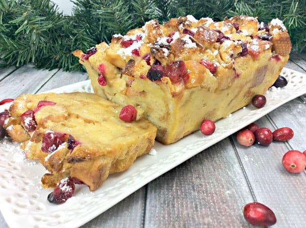 Christmas Dessert for a twist on the Bread and Butter Pudding with Eggnog and Fresh Cranberries perfect for entertaining