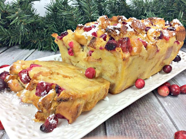 Christmas Bread and Butter Pudding with Eggnog and Cranberries