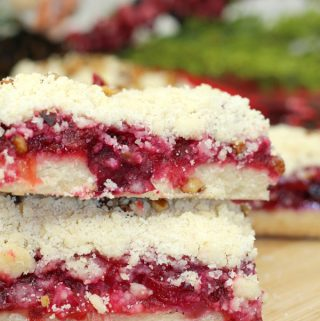 Christmas Cranberry Crumble bars easy Christmas recipe from scratch a nice alternative to traditional mince pies or Christmas Cake