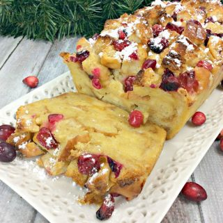 Eggnog Christmas Bread and Butter Pudding with Fresh Jewelled Cranberries
