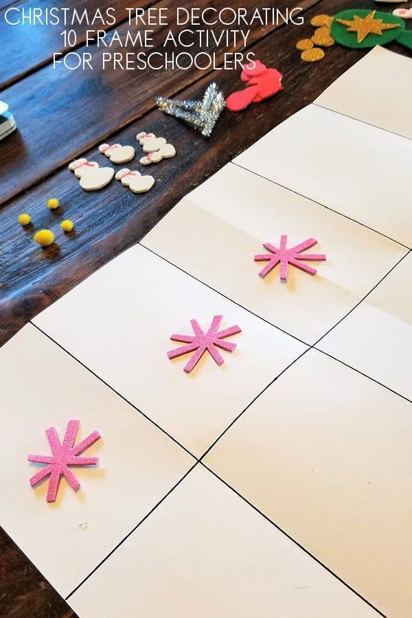 Christmas Tree Decorating Ten Frame Activity for Preschoolers