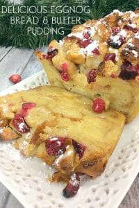 Delicious and simple Christmas Dessert Recipe. A Cranberry and Eggnog Bread and Butter Pudding a much lighter alternative to the traditional Christmas Pudding.