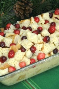 holiday dessert with eggnog and fresh cranberries