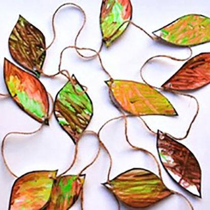 Fine Motor Leaf Garland Craft for Kids to Make