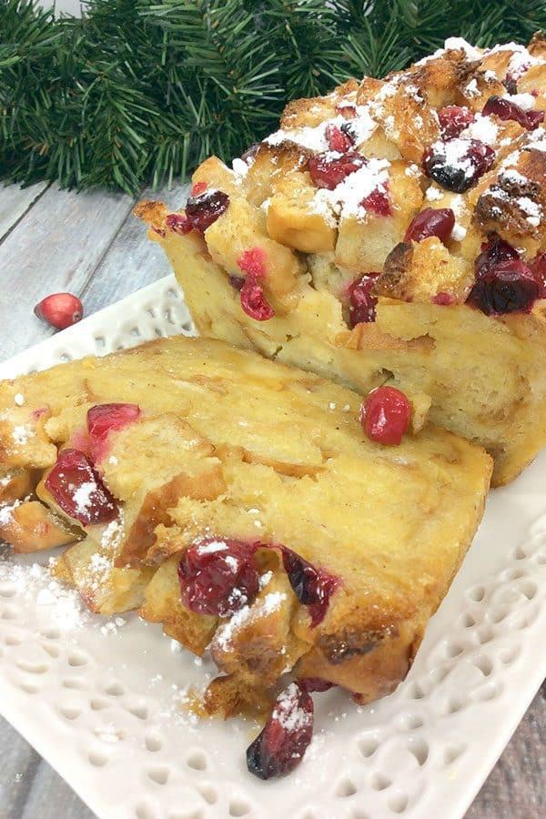 Fresh Cranberry and Eggnog Christmas Bread Pudding Recipe to Make for Dessert