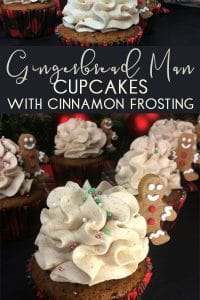 Simple recipe for gingerbread flavoured cupcakes with cinnamon buttercream icing and mini gingerbread men figures. Perfect Christmas Party Cakes to share with kids and adults alike.