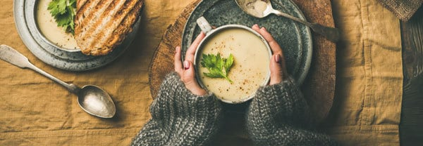warming up with a rainy day soup recipe after a winter walk
