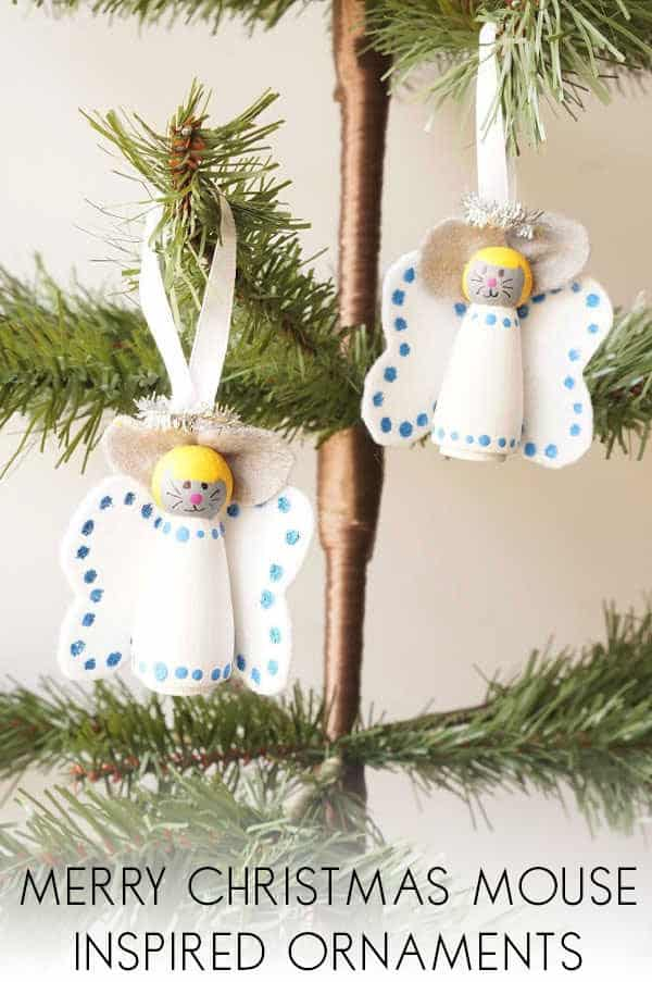 Mouse Angel Peg Doll Ornaments