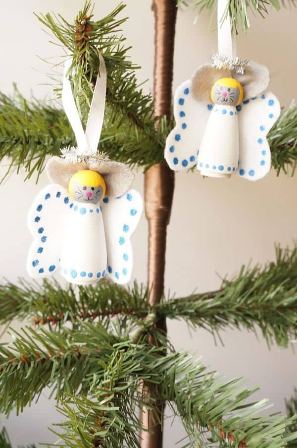 Mice Ornaments with Angel Wings for Kids to Make for the Christmas Tree