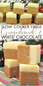 Slow Cooker Christmas Fudge with Gingerbread and White Chocolate. A Simple edible gift that you can make for those that have a sweet tooth.