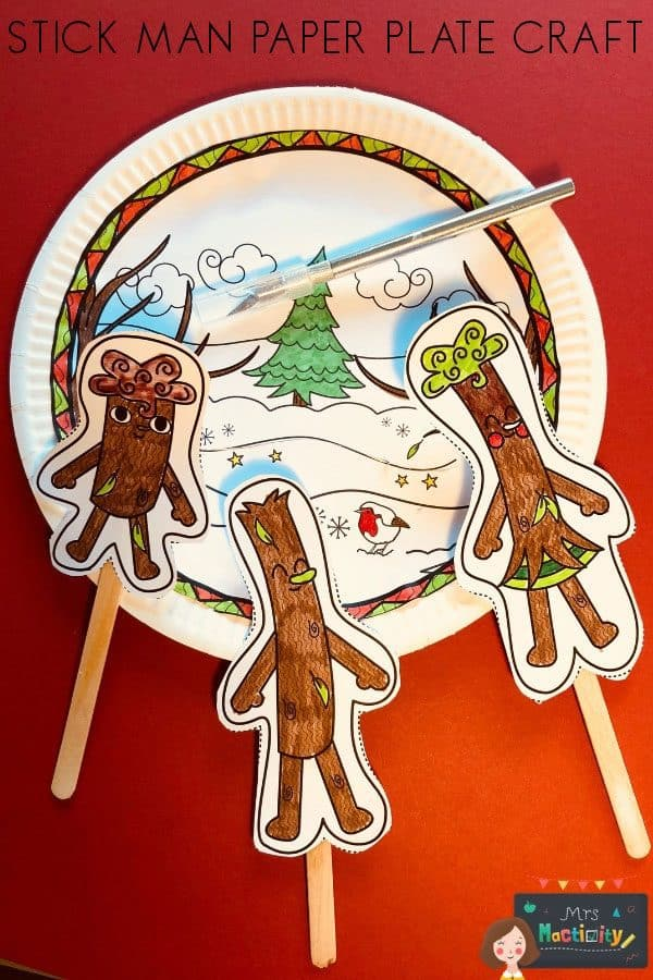 Stick Man Paper Plate Puppet Craft for Story Retelling