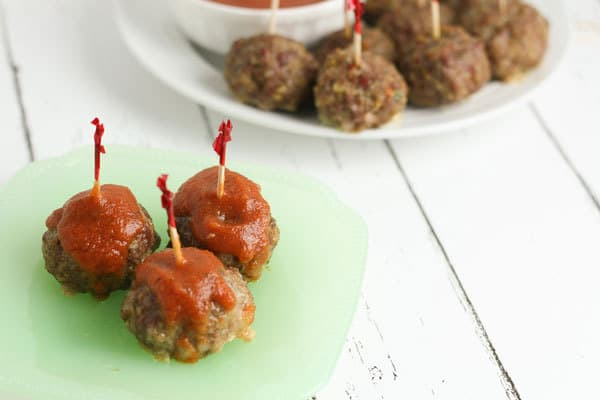 simple recipe for a party of stuffed mozzarella meatballs