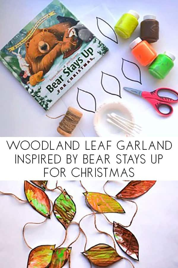 Woodland leaf garland fine motor and art project for kids of all ages to make together.