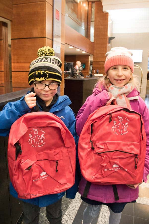 Royal Tots backpacks for kids visiting Royal Garden Hotel London