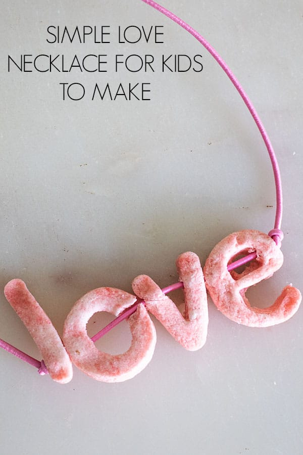 Simple Love Necklace for Kids to Make with homemade Salt Dough Letter Beads
