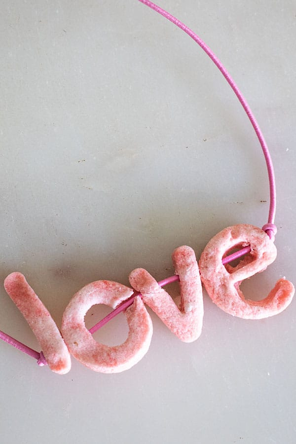 Salt Dough beads with letters ideal for kids crafts and learning activities