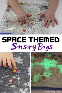 Two simple ideas for easy glow in the dark space themed sensory bags for toddlers. An easy way to do mess-free sensory play with your aspiring astronauts.