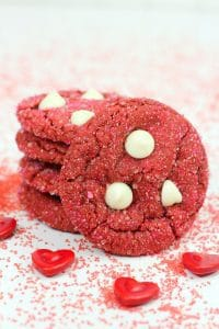 simple recipe for our favourite cake mix cookies made with red velvet cake mix and topped with white chocolate chips perfect for cooking with kids