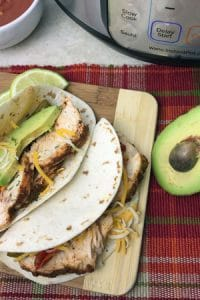 homemade chicken fajitas in the electronic pressure cooker