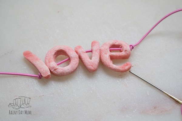 Salt dough LOVE necklace with homemade letter beads