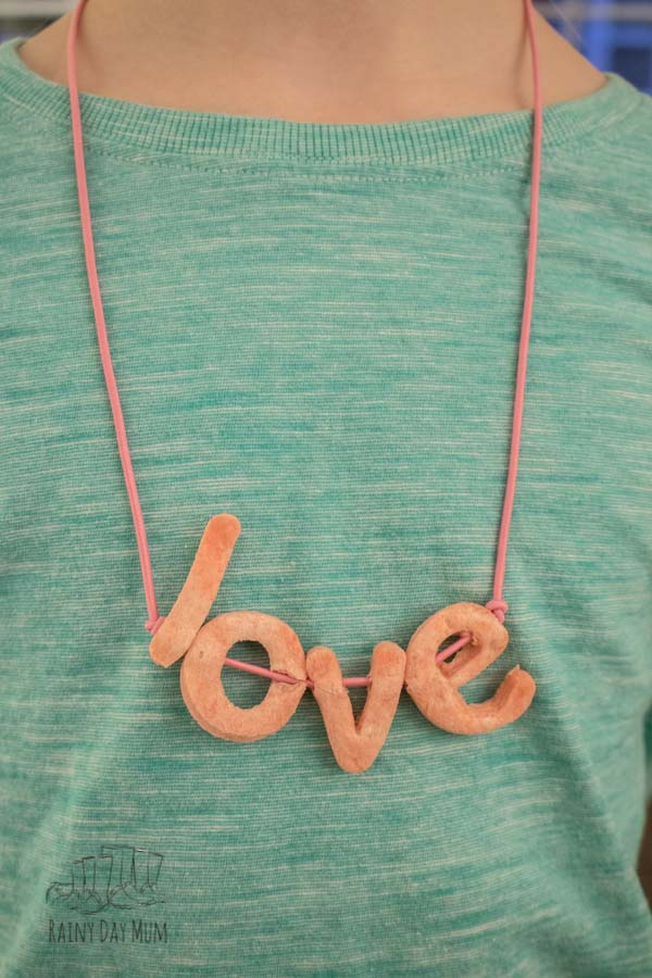 simple kids craft to make a Valentine's Necklace with homemade Letter Beads using Salt Dough