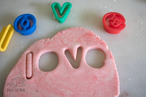 Salt dough recipe for coloured and scented dough to make letter beads for kids to use in crafts and learning activities