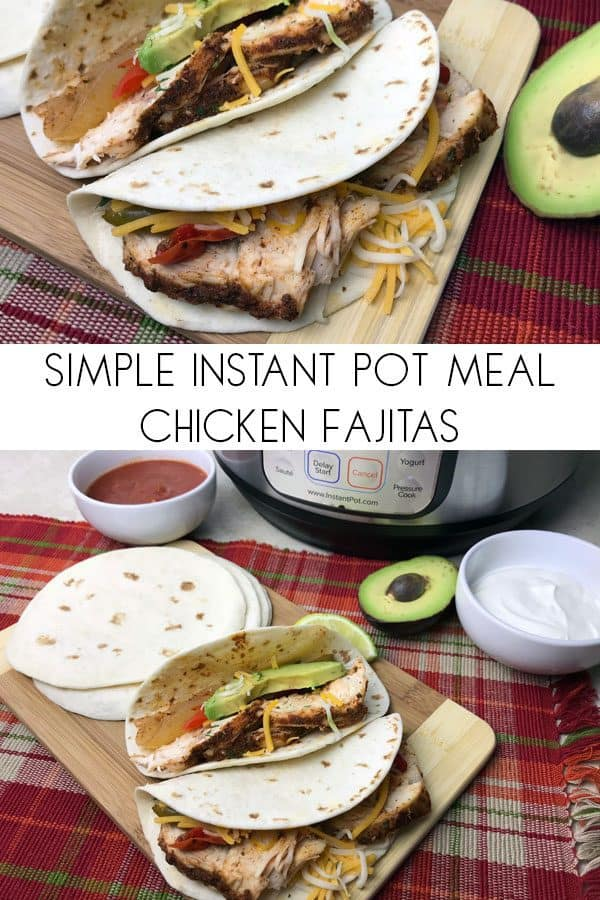 Simple Instant Pot meal to make for families. Chicken Fajitas ready in around 15 minutes. Delicious and best served with homemade guacamole.