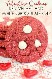 Recipe and step by step instructions on making simple 4 ingredient red velvet cookies with white chocolate chips and sparkles for Valentine's Day