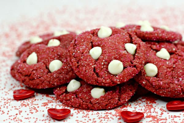 yummy cookies with red velvet cake mix and white chocolate chips ideal for making for Valentine