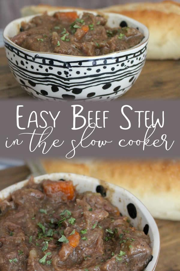 Easy beef stew in the slow cooker a simple family meal for autum and winter to warm you from the inside out.