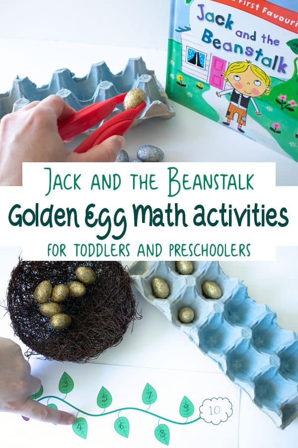 Simple set up for a Jack and the Beanstalk Math Activity for toddlers and preschoolers