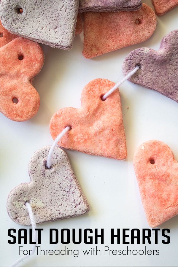 Scented Salt Dough Recipe to make Threadable hearts ideal for fine motor and pattern activities with preschoolers this Valentine's Day