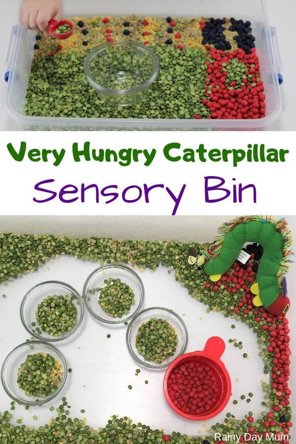 hungry caterpillar sensory bin pin