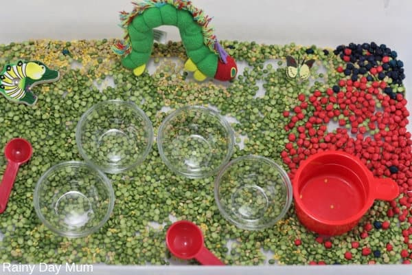 Eric Carle and the Very Hungry Caterpillar inspired easy to set up Sensory Bin for Tots