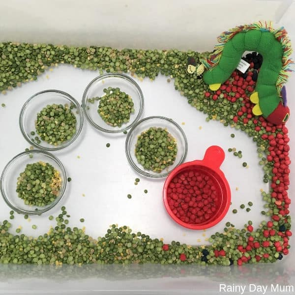 easy set up for a Very Hungry Caterpillar sensory bin for toddlers to work on fine motor skills and scooping pouring