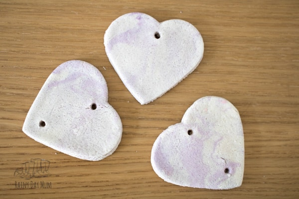 salt dough hearts for kids to make with colour and lavender ideal for valentines crafts-12