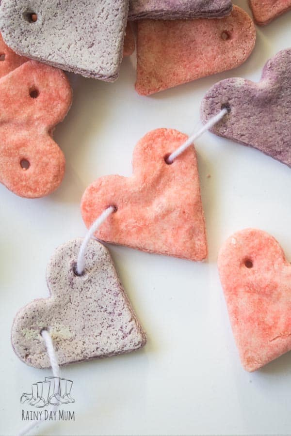 Threaded Salt Dough Hearts in a Pattern for preschoolers to copy
