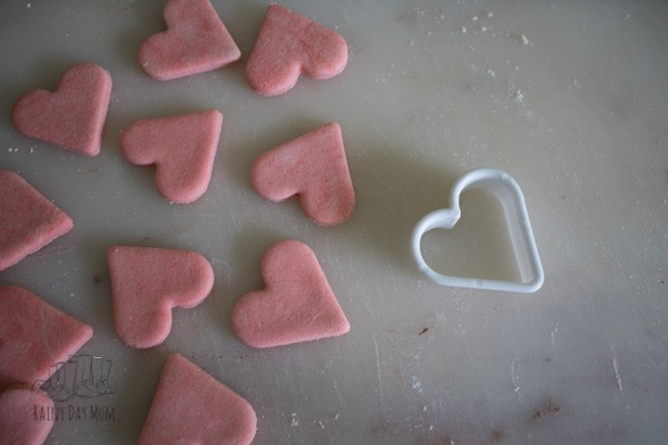 Hearts cut from coloured and scented salt dough with a cookie cutter