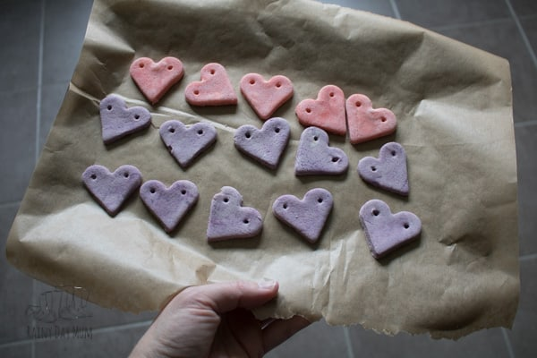 salt dough hearts beads for activitis and crafts with preschoolers