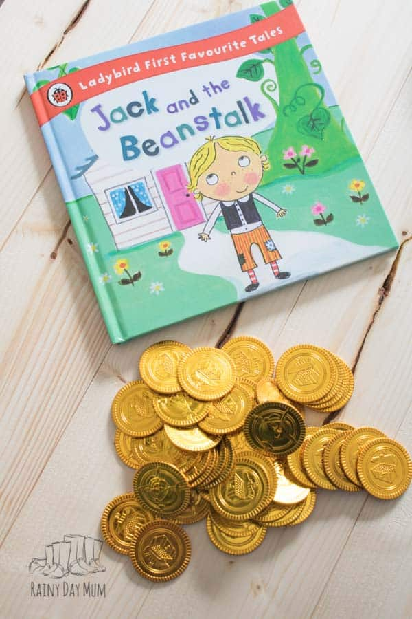 gold coin counting activity inspired by Jack and the beanstalk for preschoolers