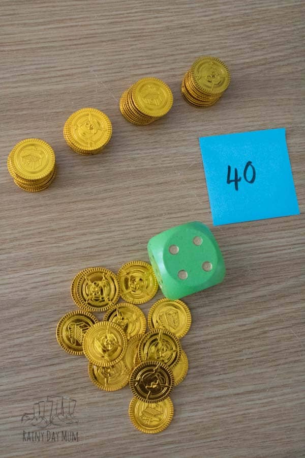 gold coin counting in 10s game for kids