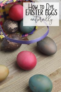naturally dyed Easter Eggs ona wooden background