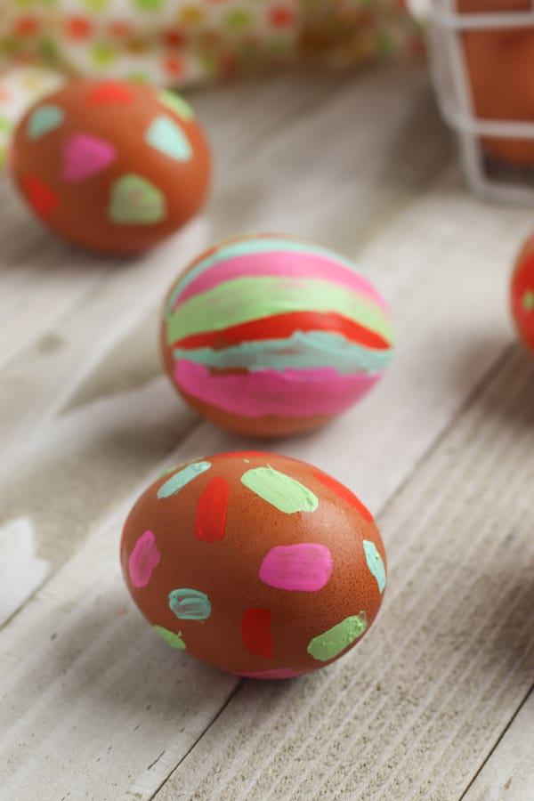 painted eggs to decorate with kids