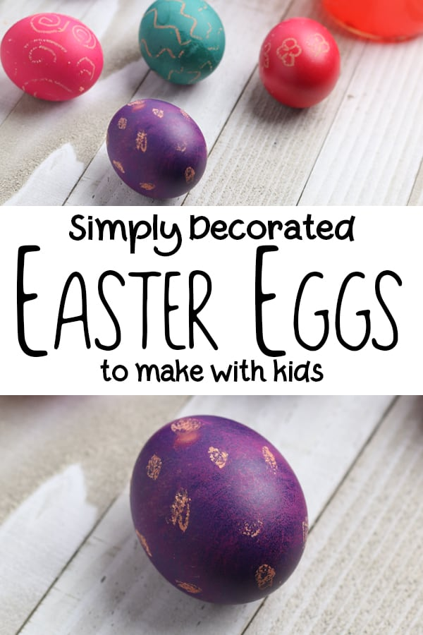Simply decorated Easter Eggs to make with Kids using wax crayons and food colouring
